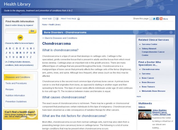 Screenshot of Chondrosarcoma Page in the Health Library