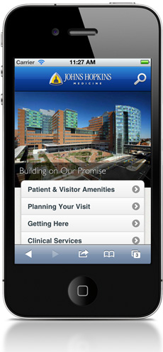 Hospital Home Page on an iPhone