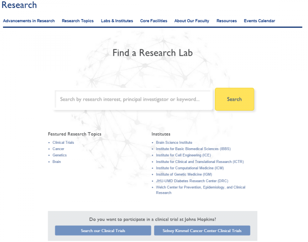 Research Lab Search Landing Page